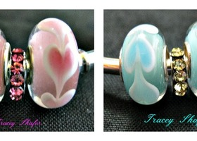 Pick Shades of Pink or Blue  Heart GLW Euro Beads