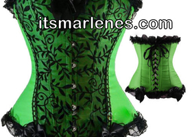 Sz. 2 to 20 Delightful Green Corset w/G-String