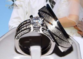 His Hers 3 pcs AAA Grade Diamond Cut CZ 6tcw Ring Set
