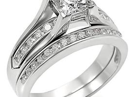 Size 5-10 Princess-Cut and Round CZ Wedding Ring
