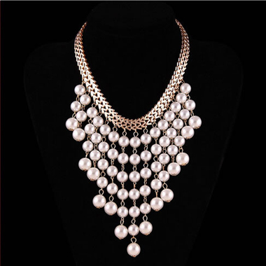 White Women Multilayer Pearl Tassels Metal Necklaces