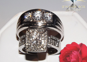 His Hers 3 pc 2.65 Ct Halo Princess  Wedding Set