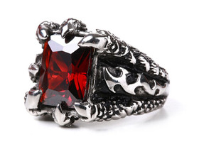 Royal Man's Ring Dragon paw with Genuine Red Crystal