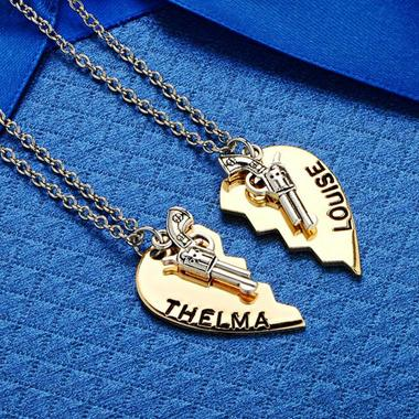 Broken Heart Pistol Gun Thelma Louise Pendant Necklace Sets Chain Charm Necklace