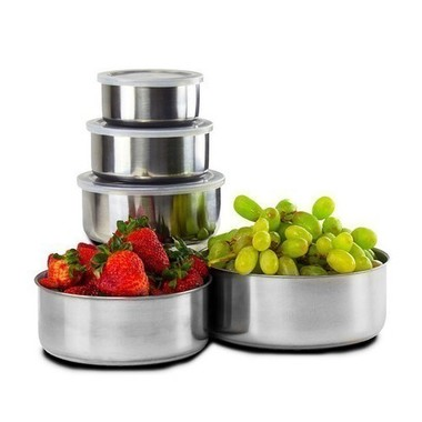 10 Piece Set: Home Solutions Stainless Steel Storage Bowl Set with Colored Plast