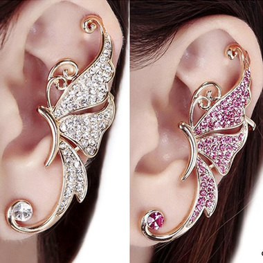 Cute Butterfly Rhinestone Ear Cuff Clip Cartilage Earring