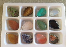 12 Mixed Gemstone Teardrop Pendants with Bails