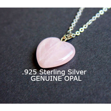 Sterling Silver Chain Pink Lab Created Opal Heart Pendant Necklace