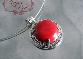 Bright Red Dyed Howlite Round Pendant in Brass Setting
