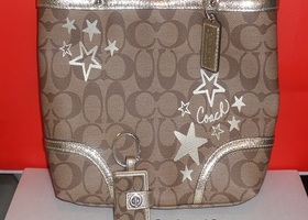 Coach Chelsea Star Top Handle Tote, Matching Key Ring