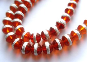 *1 Strand 32 inches Red Orange Silver Stripe 8mm Beads