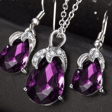 14K White Gold Plated Luxury Purple Crystal Set