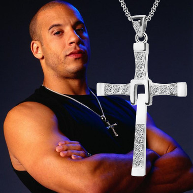 1Pcs Classic design Silver Gold Color Titanium Zirconia Cross Necklace for Coupl