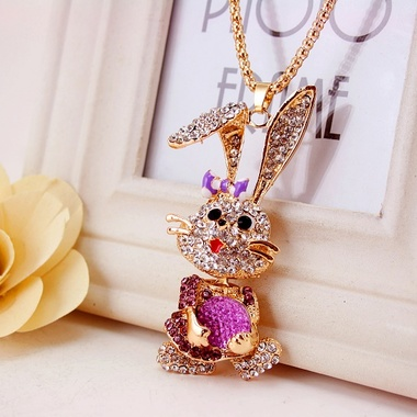 Multi Colored Crystal Rhinestone Rabbit Pendant With Hollow Snake Chain Necklace