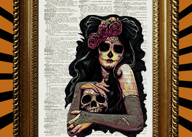 Day of the Dead Girl Book Page Print