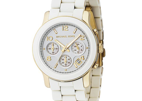 MK Gold & White PU Chronograph