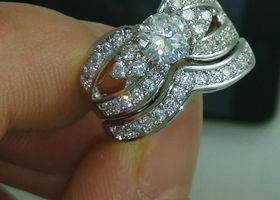 18k White Gold Plated Topaz Engagement Ring Set