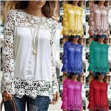 Fashion Sexy Women Lace Sleeve Chiffion Shirts Long Sleeve Blouse Top