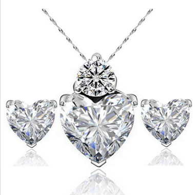 925 Sterling Silver Honest Heart Zircon Crystal Necklace Set  Earrings
