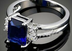 18K White gold Plated Blue Crystal Unique Ring