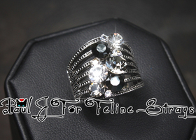 ✦ 5 6 7 8 9 10 Starry Night AB Crystal Stainless Ring