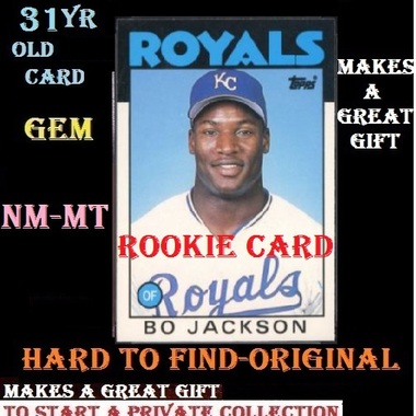Bo Jackson ROOKIE Hard to FIND Original 1986 TOPPS Mint CARD comes in VERY HARD