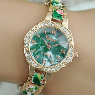 Shells new petal shape dial Geneva stamped alloy watch shell color face floral t