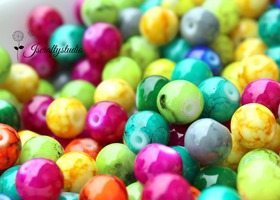 "100+ 8mm Mottled ""Fruit Salad"" Glass Beads"