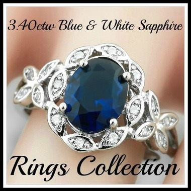 3.40ctw Beautifully Created Fine Blue White Sapphire Ring Sm8893