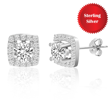 Sterling Silver Swarovski Elements Halo Post Earrings in Sterling Silver
