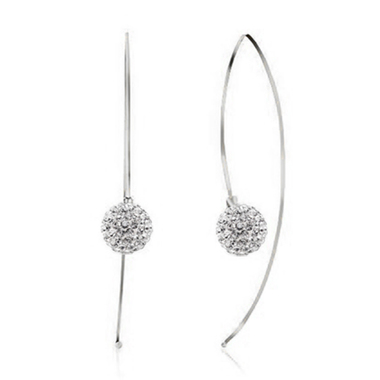Swarovski Elements Crystal Ball Threader earrings in sterling silver