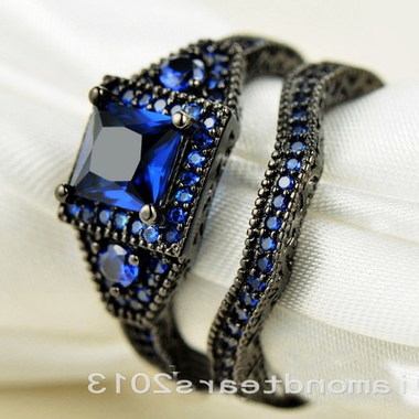 jewelry Bule Stone Black Gold Filled Wedding Ring 014