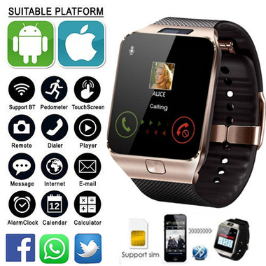 LATEST VERSION Gold DZ09 Smart Bluetooth Watch GSM SIM SD Card Phone for Android