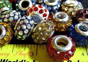 Mixed Colors Rhinestone Euro Beads