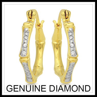 18K Gold Plated .01CTW Diamond Accent Single Row Hoop Earrings