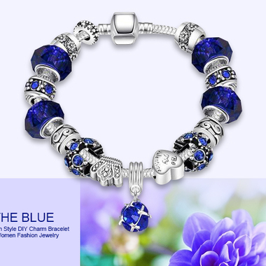Best Gift!European Style DIY Charm Bracelet with Murano Glass Beads(1inch=2.54cm