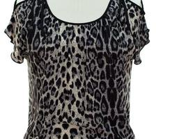 Leopard Print Knit Top - Gray Color - Plus Size