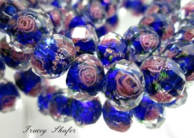 Deep Royal Blue Faceted Sweetheart Rose GLW Beads