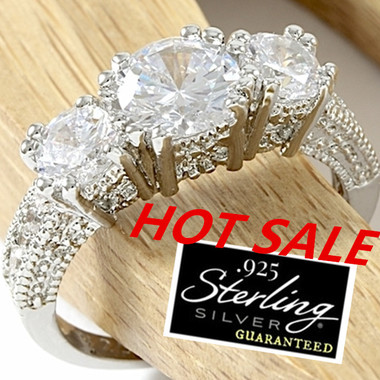 100% High Quality Womens Fashion 925 Sterling Silver Engagement & Wedding CZ Rin