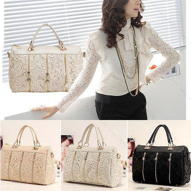Vintage Women PU Leather Messenger Bag Tote Shoulder Bag Lace Handbag
