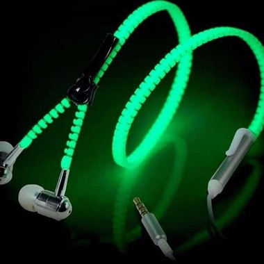 Glow In The Dark Earphones Glow Earbuds Metal Zipper Glowing Headset Luminous Li