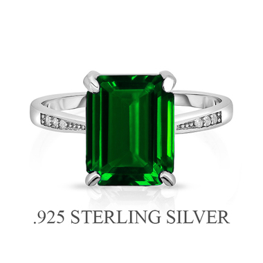 Stunning Unique Sterling Silver .925 With Emerald Cut Lab Created Solitaire Emer
