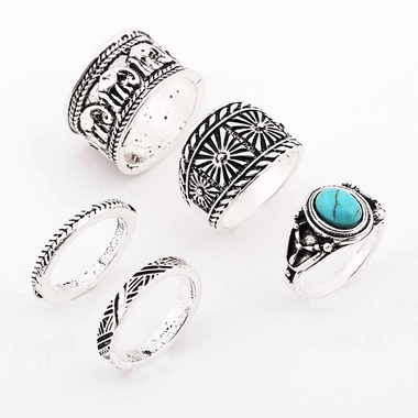 5Pcs/Set New Bohemian Sliver Plated Carved Knuckle Turquoise Elephant Midi Ring