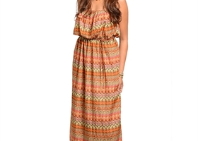 RUST GRAY BLACK MULTI COLOR MAXI DRESS