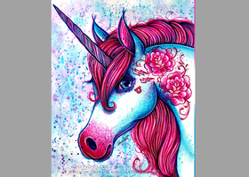 10.5 x 13.75 in Signed Art Print - Unicorn