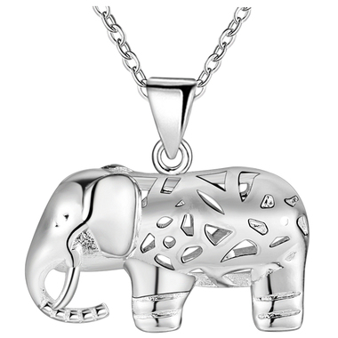 18kt White Gold Plated Elphant Pendant Necklace