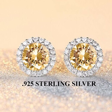 Stunning .925 Sterling Sterling Halo Champagne Earings