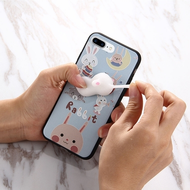 For iPhone 7 Plus 3D Lovely Rabbit Cartoon Pattern Squeeze Relief IMD Workmanshi