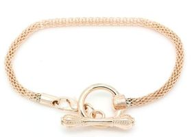 BMGM Rose Gold Snake Chain Toggle European Bracelet