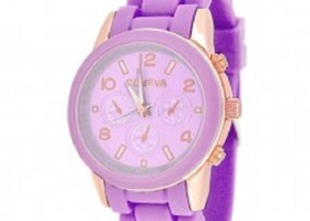 Bling Rose Gold Round Face / Silicone Wome  Watch
